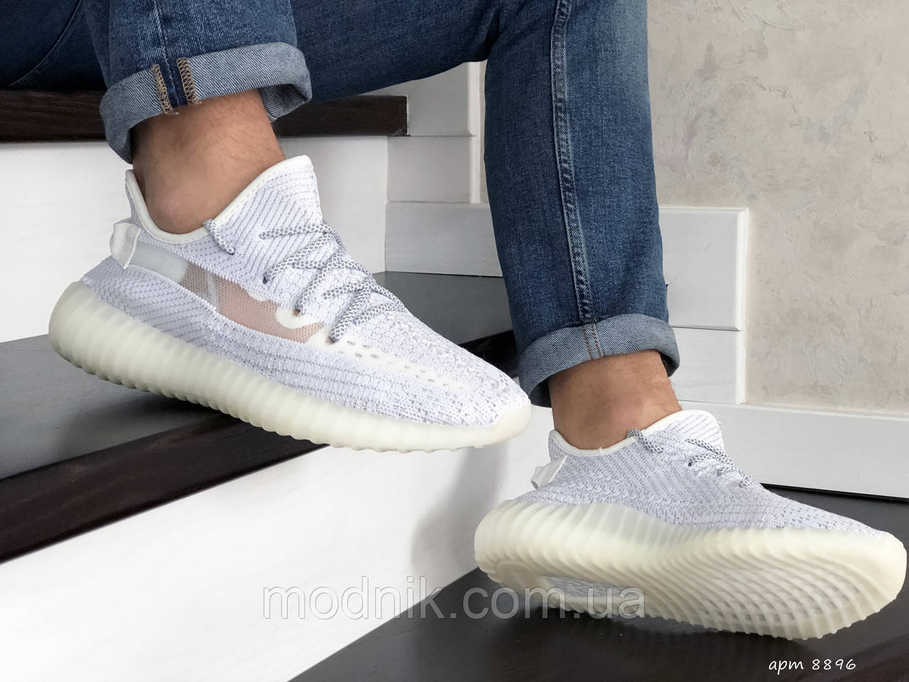Мужские кроссовки Adidas x Yeezy Boost (белые)