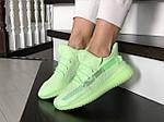 Женские кроссовки Adidas x Yeezy Boost (салатовые), фото 4