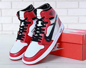 Баскетбольные мужские кроссовки Nike Air Jordan 1 Off White в бело-красном цвете