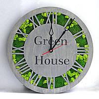 """Эко-часы из мха настенные деревянные 50 см (цвет корпуса """"серый"""")."""