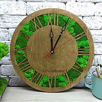 """Эко-часы из мха настенные деревянные 50 см (цвет корпуса """"палисандр"""")."""
