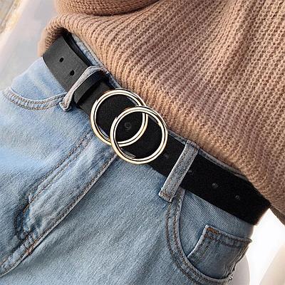 Женский ремень с кольцами пояс с круглой пряжкой эко-кожаный ретро винтажный