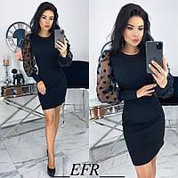 Платье приталенное с объемными рукавами из сетки (2 цвета) ЕФ/-497 - Черный, фото 1