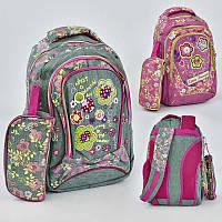Рюкзак ткань Лен, с 3 отделениями, пенал, мягкая спинка с подушечками - 186020