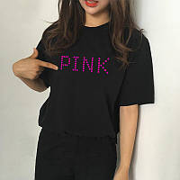 Женская футболка оверсайз черная Pink Пинк розовый принт (РЕПЛИКА)