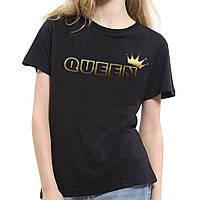 Женская черная футболка оверсайз Королева Queen золотистый принт (РЕПЛИКА)