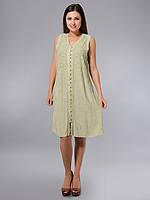 Платье -халат, оливковое, хлопок, Индия, на 44-52 размеры