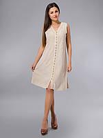 Платье -халат, бежевое, хлопок, Индия, на 44-52 размеры