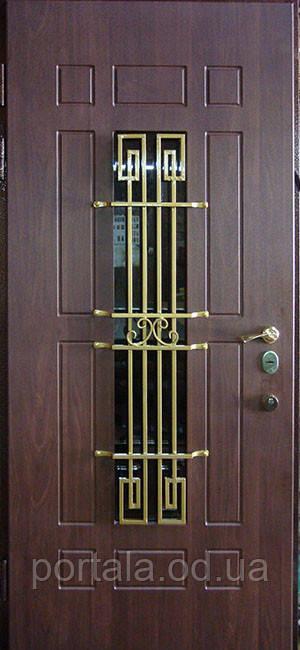 """Вхідні металеві двері з ковкою і склом для вулиці """"Портала"""" (Еліт Vinorit) ― модель Кування 25"""