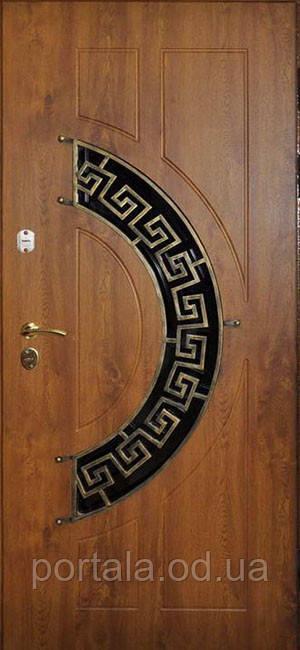 """Входная дверь с ковкой и стеклом для улицы """"Портала"""" (Элит Vinorit) ― модель Ковка 24, фото 1"""