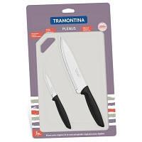 Набор ножей Tramontina Plenus 3 предмета (с досточкой) Black (23498/014)