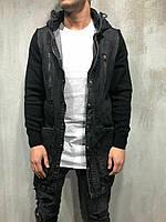 Джинсовка удлиненная куртка мужская черная Турция