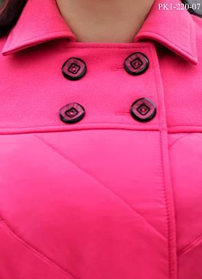 Женское демисезонное пальто прямого силуэта цвет малиновый размер 46-50, фото 2
