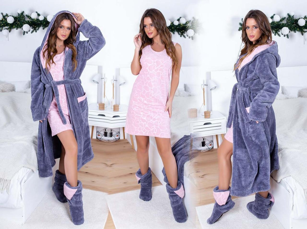 """Женский домашний махровый комплект халат + ночная сорочка до больших размеров 609 """"Махра Полар"""" в расцветках"""