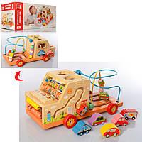 Деревянная игрушка Центр развивающий MD 2201 (12шт) машина,лабиринт на пров,сортер,кор,35-15-17,5см