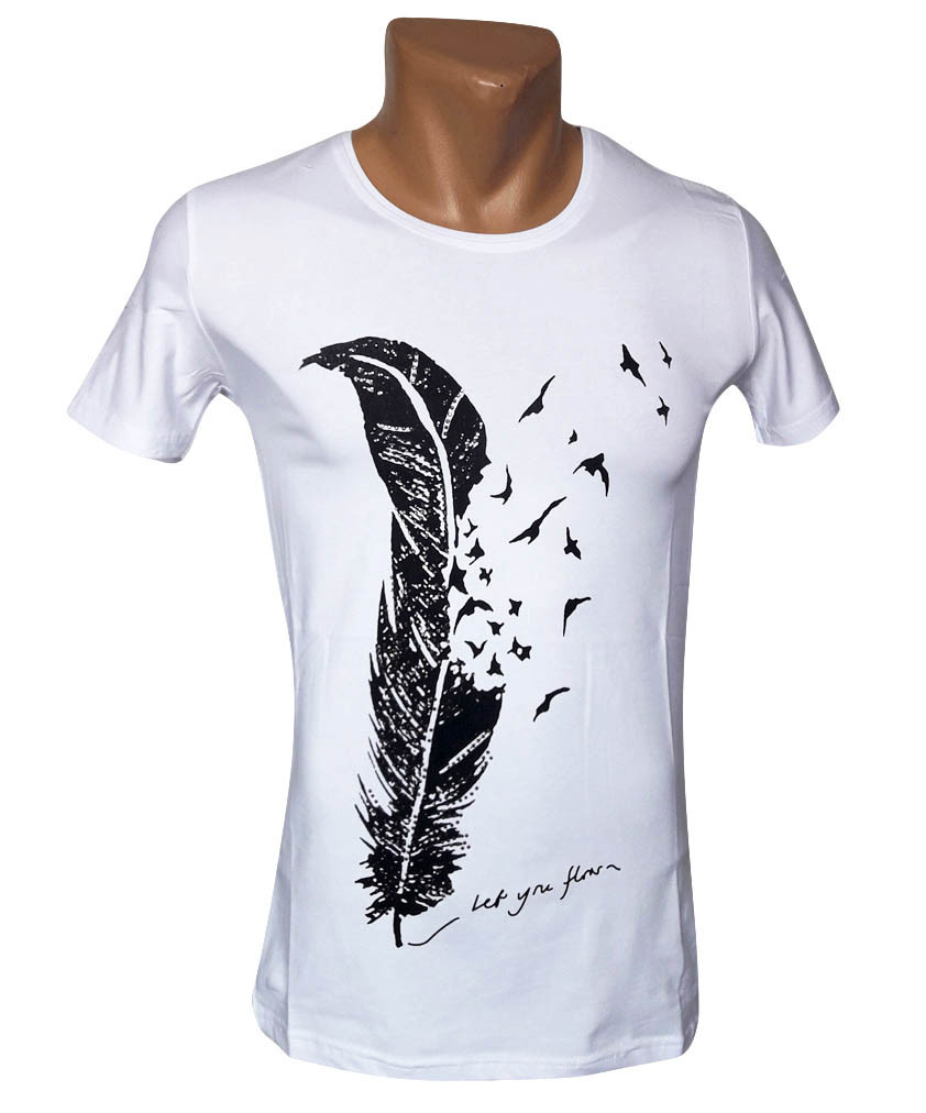 Белая хлопковая футболка Sport Line - №4996