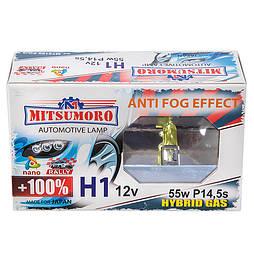 Автолампа MITSUMORO Н1 12v 55w   P14,5s +100 anti fog effect (ближний, дальний, птф) (M72120 FG/2)