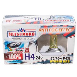 Автолампа MITSUMORO Н4 24v   70/75w P43t  +100 anti fog effect (ближний, дальний) (M74430 FG/2)