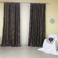 Шторы и тюль в спальню из жаккарда 150x270 см (2 шт) ALBO Шоколадне (SH-500-7)