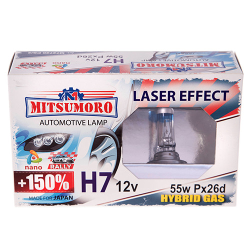Автолампа MITSUMORO Н7 12v 55w Px26d  +150 laser effect (ближний, дальний) (M72720 PS/2)