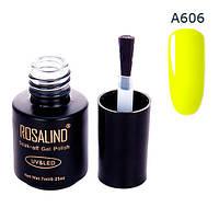 Гель-лак для ногтей маникюра 7мл Rosalind, шеллак, А606 неон желтый