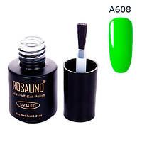 Гель-лак для ногтей маникюра 7мл Rosalind, шеллак, А608 неон салатовый