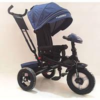Велосипед M 4060HA-11L (1шт)три кол.резина (12/10)коляс,поворот,USB/BT,свет,торм,пульт,темн.син лен