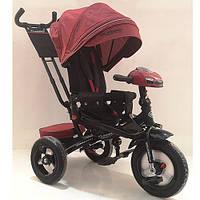 Велосипед M 4060HA-1L (1шт)три кол.резина (12/10)колясочн,поворот,USB/BT,свет,торм,пульт,красный лен