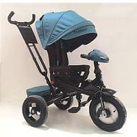 Велосипед M 4060HA-21T (1шт)три кол.резина (12/10)коляс,поворот,USB/BT,свет,торм,пульт,изумруд твид