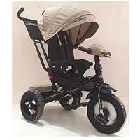 Велосипед M 4060HA-7L (1шт)три кол.резина (12/10)колясочн,поворот,USB/BT,свет,торм,пульт,бежевый лен