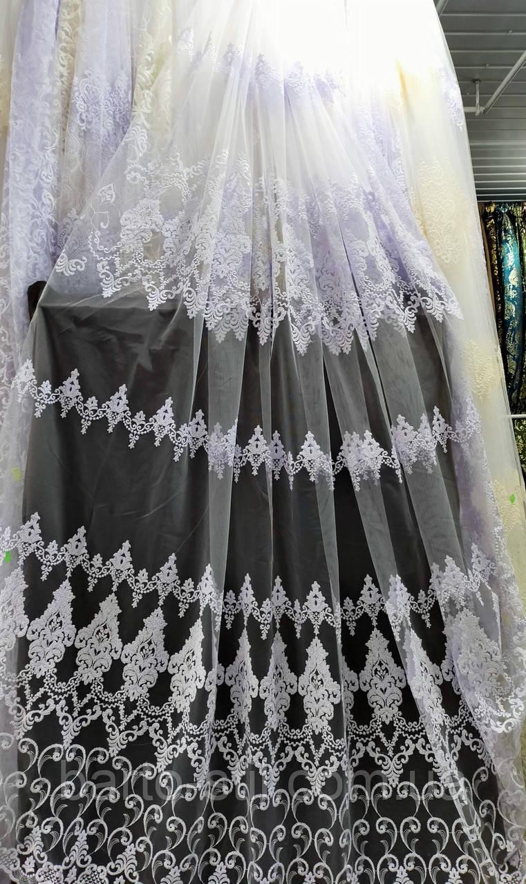 Фатиновая тюль с объёмной вышивкой Турцыя Белая и молочная
