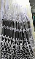 Фатиновая тюль с объёмной вышивкой Турцыя Белая и молочная, фото 1