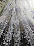 Красивая тюль с вышивкой  (фатиновая основа) Оптом и на метраж Высота 2.8 м Белая,Молочна, фото 3
