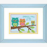 """70-73699 Набор для вышивания крестом """"Owl Mini Birth Record//Совушки"""" DIMENSIONS"""