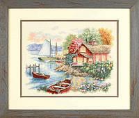 """35230 Набор для вышивания крестом """"Спокойный дом у озера//Peaceful Lake House"""" DIMENSIONS"""