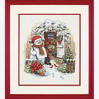 """08817 Набор для вышивания крестом """"Садовый снеговик//Garden Shed Snowman"""" DIMENSIONS"""