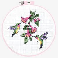 """72407 Набор для вышивания крестом """"Колибри//Hummingbird Duo"""" DIMENSIONS"""
