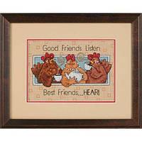 """65079 Набор для вышивания крестом """"Хорошие друзья слушают//Good Friends Listen"""" DIMENSIONS"""