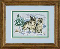 """06800 Набор для вышивания крестом """"Пара волков//A Pair of Wolves"""" DIMENSIONS"""
