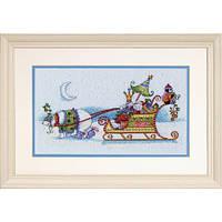 """70-08864 Набор для вышивания крестом """"Снежный медведь и сани//Snow Bear and Sleigh"""" DIMENSIONS"""