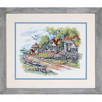 """03240 Набор для вышивания крестом """"Коттеджи на берегу моря//Cottages by the Sea"""" DIMENSIONS"""
