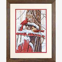 """70-08837 Набор для вышивания крестом """"Птички на санках//Cardinals on Sled"""" DIMENSIONS"""