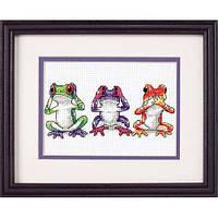 """16758 Набор для вышивания крестом """"Трио лягушек//Tree Frog Trio"""" DIMENSIONS"""
