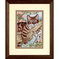 """65090 Набор для вышивания крестом """"Дремлющий котенок//Napping Kitten"""" DIMENSIONS"""