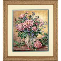 """35211 Набор для вышивания крестом """"Пионы и колокольчики//Peonies & Canterbury Bells"""" DIMENSIONS Gold Collection"""