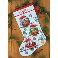 """70-08951 Набор для вышивания крестом """"Праздник//Holiday Hooties Stocking"""" DIMENSIONS"""
