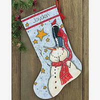 """70-08924 Набор для вышивания крестом """"Снеговик с высокой шляпой//Tall Hat Snowman Stocking"""" DIMENSIONS"""
