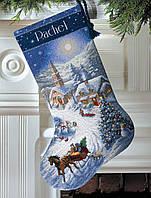 """08712 Набор для вышивания крестом """"Поездка в сумерках//Sleigh Ride at Dusk Stocking"""" DIMENSIONS"""
