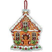 """70-08917 Набор для вышивания крестом """"Украшение Пряничный домик//Gingerbread House Ornament"""" DIMENSIONS"""