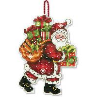 """70-08912 Набор для вышивания крестом """"Украшение Санта с мешком//Santa with Bag Ornament"""" DIMENSIONS"""
